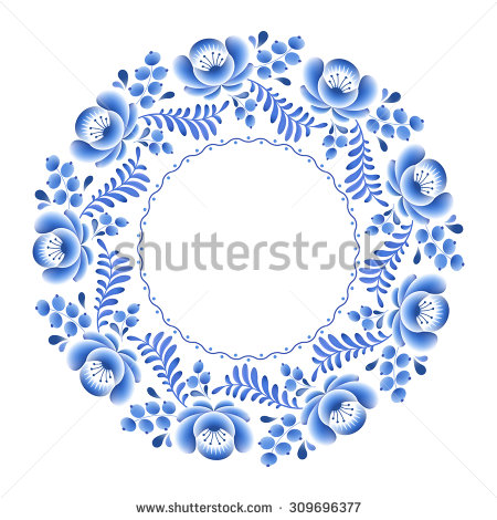 stock-vector-blue-flowers-floral-russian-porcelain-round-frame-with-beautiful-folk-ornament-vector-illustration-309696377