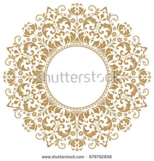 Decorative line art frames for the template design. An elegant element for design in Eastern style, place for text. Golden outline flower border679792858